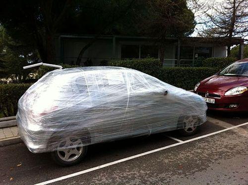 funny car prank bad parking plastic wrap