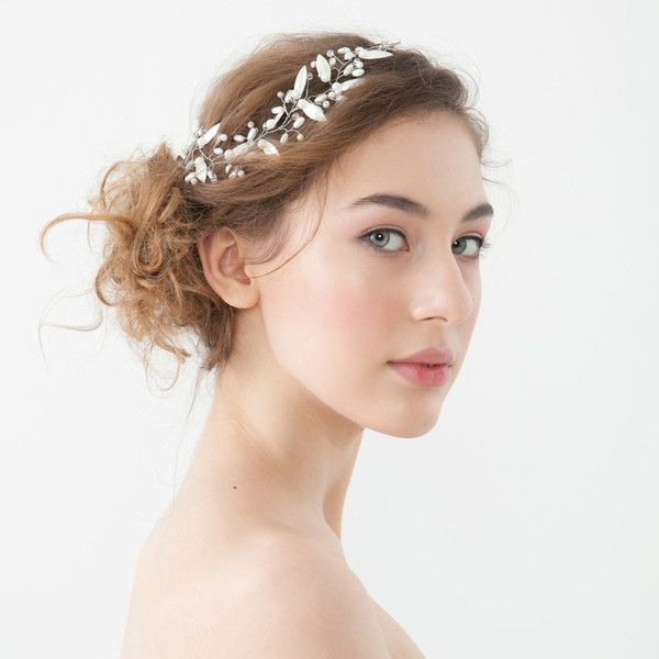 Silver and pearl bridal vine on a model side view