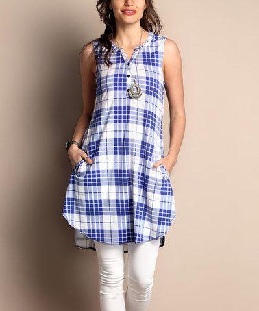 Another great find on #zulily! Blue Plaid Sleeveless Handkerchief Tunic - Plus #zulilyfinds
