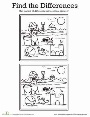 Find the Differences: At the Beach Worksheet