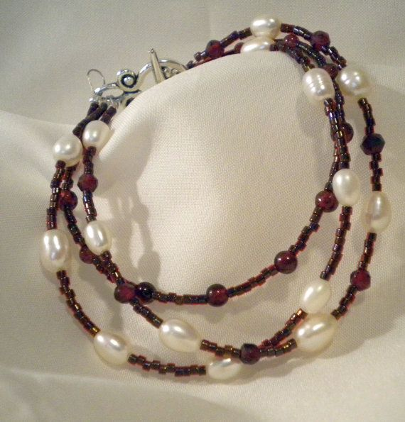 Garnet and Pearl Three Strand Bracelet by beccasbijoux on Etsy, $22.00