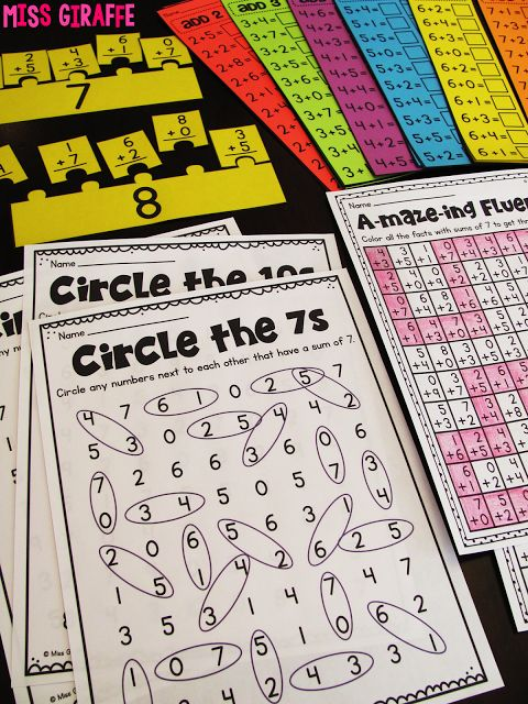 A ton of fun ways to practice fact fluency in first grade - LOVE this one - kids circle the 2 numbers that equal the sum they're working on!
