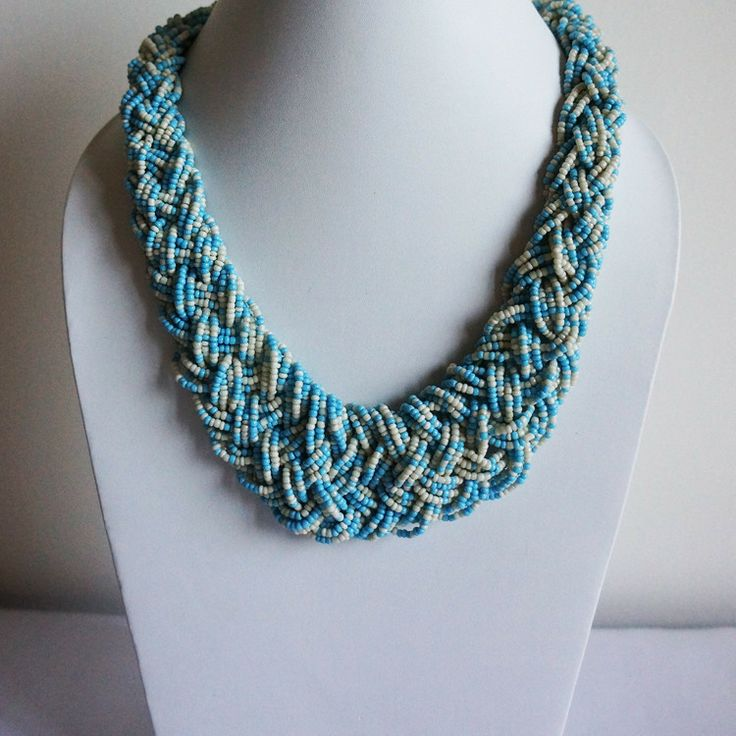 Glass beads woven into a beautiful statement necklace by Chobhi