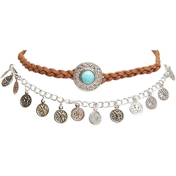Gypsy Gems Choker Trio ($13) ❤ liked on Polyvore featuring jewelry, necklaces, silver, gypsy coin necklace, ribbon necklace, ribbon choker necklace, chain necklace and fringe necklace