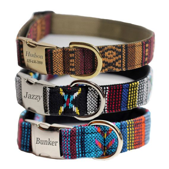 Dog Collar, Engraved Dog Collar, Personalized Woven Tribal Dog Collar