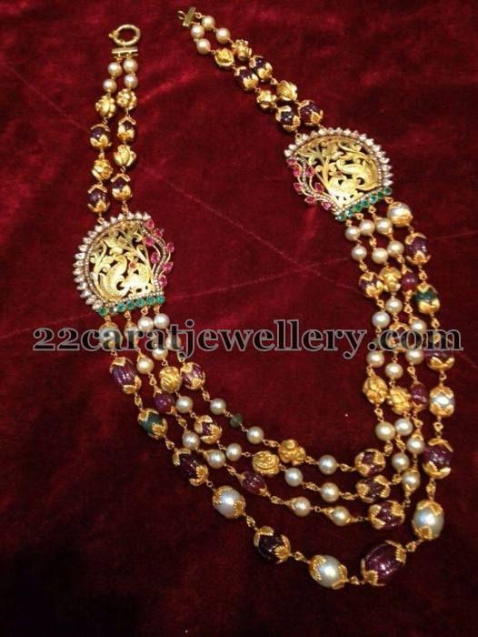 Jewellery Designs: Peacock Side Motifs Beads Set
