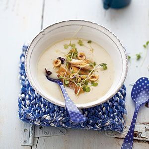 Terrific Soups and Stews | Creamy Celery Root Soup with Smoked Trout | CoastalLiving.com