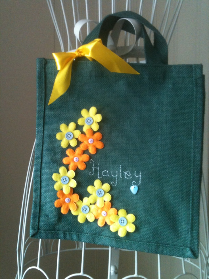 decorated jute lunch bag personalised with hand embroidery ...