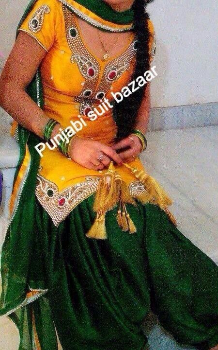 Awesome Yellow Green Patiyala Suit