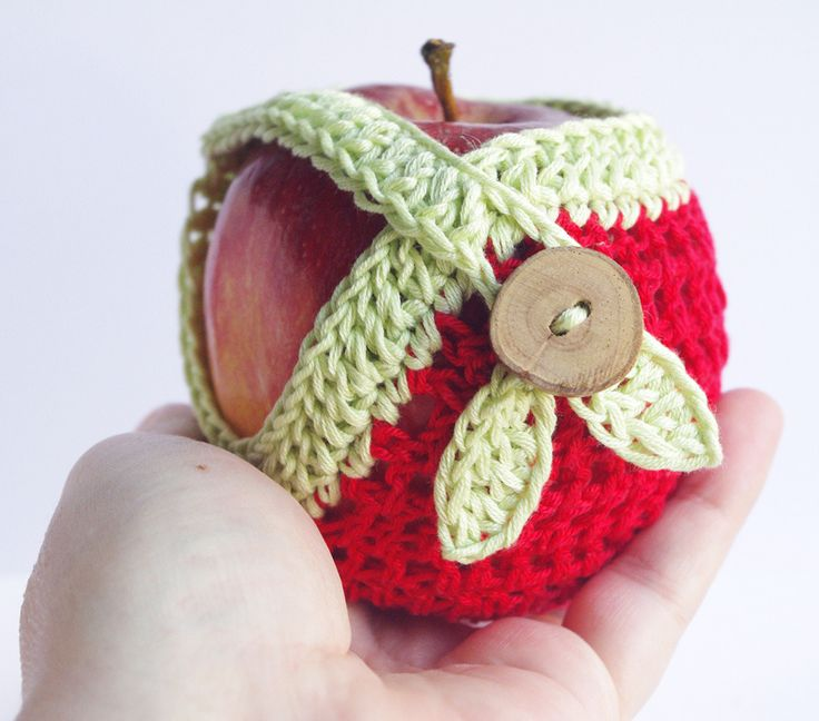 housse de pomme rouge vert sac fruit tui picnic gadget cozy d co cuisine crochet. Black Bedroom Furniture Sets. Home Design Ideas