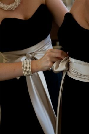 Beautiful black velvet dresses with satin sashes ... Perfect for a winter wedding