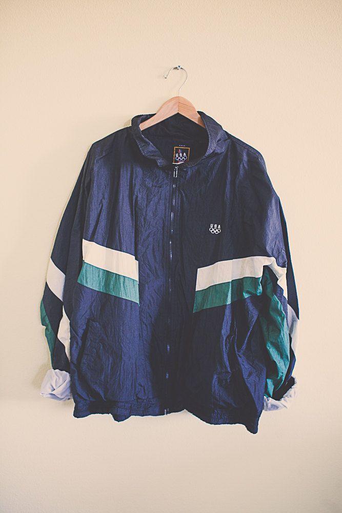 90's 80's  Black Green White Windbreaker  Olympic Oversized Nylon Wind Breaker Jacket Coat Size Extra Large XL 36 Club Ravewear by 7CitiesVintage on Etsy