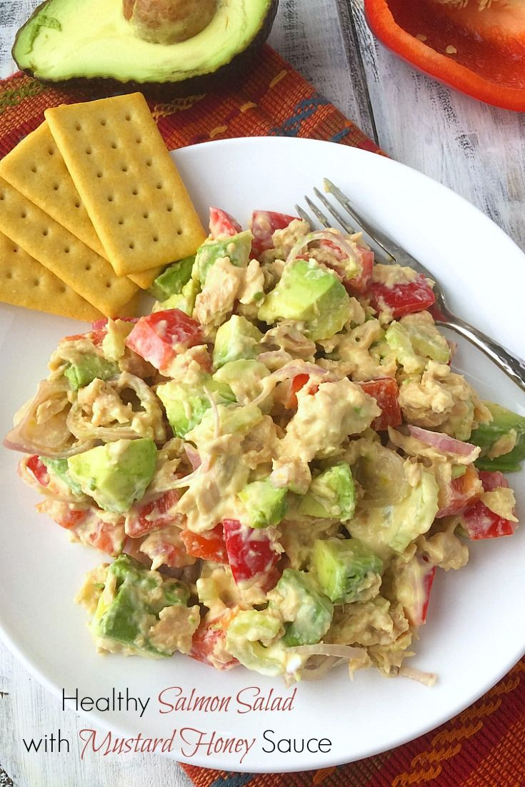 This healthy salmon salad with light and tangy mustard honey sauce is loaded with vegetable goodness. It's an awesome lunch or dinner option.