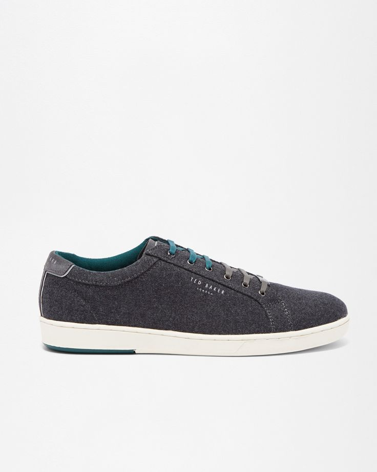 Ted Baker Textured cotton and suede trainers Grey