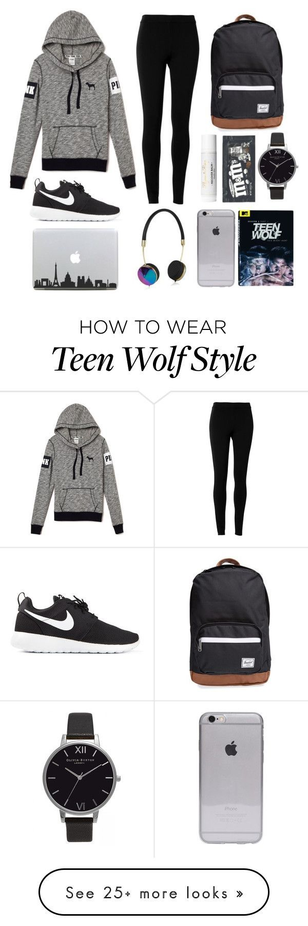 """long plane ride"" by deannalu on Polyvore featuring NIKE, Max Studio, Herschel Supply Co., Frends and Olivia Burton"