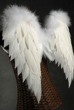 handcrafted 27x20 white angel wings with marabou ostrich trim diy angel costumeangel halloween - Halloween Costumes Angel Wings