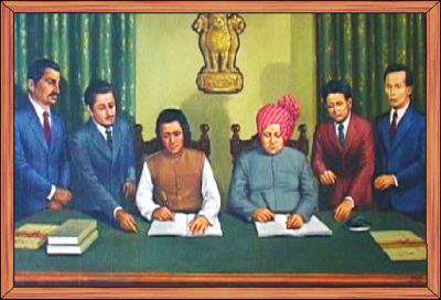 budhachandra_merger.jpg - During the Raj, the Kingdom of Manipur was one of the princely states. Between 1917 and 1939, the people of Manipur pressed for their rights against British rule. By the late 1930s, the princely state of Manipur negotiated with the British administration its preference to be part of India, rather than Burma. These negotiations were cut short with the outbreak of World War II. On 21 September 1949, Maharaja Budhachandra signed a Treaty of Accession merging the…