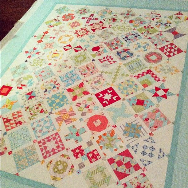 """Per original Pinner:  """"Oh yeah, I put this together a few days ago.  All basted, and ready to be hand quilted.  Yes, I've lost my mind."""" by croskelley, via Flickr - Camille's Farmer's Wife quilt"""