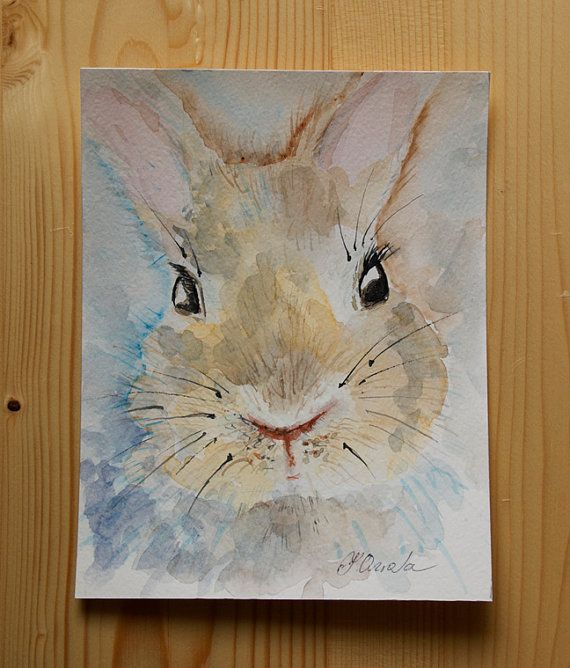 Rabbit painting ORIGINAL watercolor painting cute by coloribli