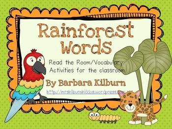 Rainforest vocabulary/read the room activity for writing centers.  Includes 10 f