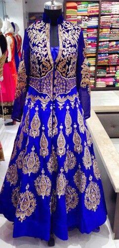Royal blue and Gold Anarkali