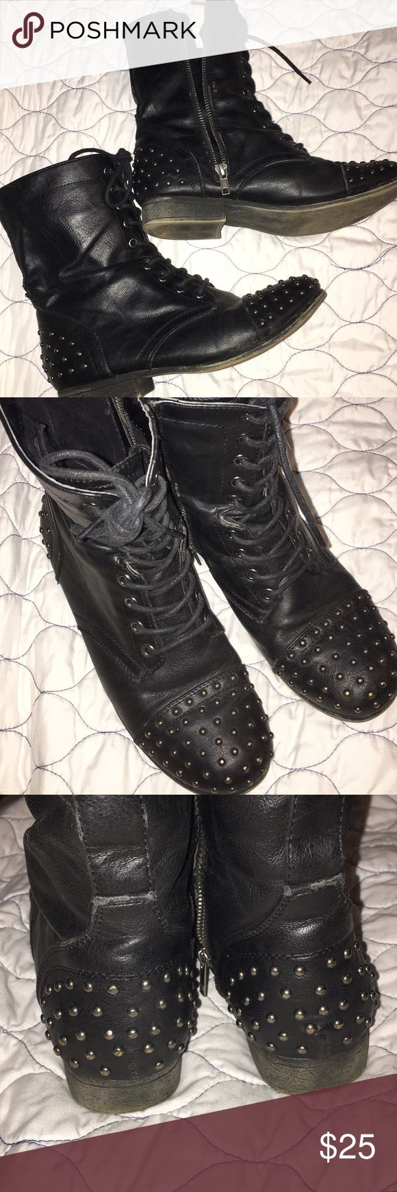 Madden Girl Black Studded Combat Boots Madden Girl studded black combat boots, leather has been slightly worn however no rips or tears, all studs are still on the boot, from a smoke free household! Madden Girl Shoes Combat & Moto Boots