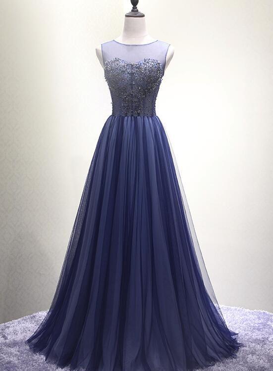 ead1357081 Navy Blue New Style Floor Length Formal Dress