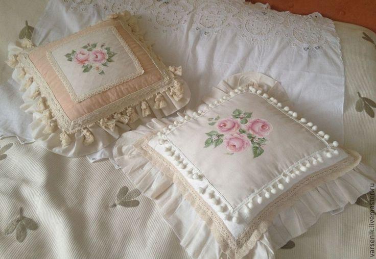 Подушки французский декор роспись - подушка,подушка декоративная,винтажный стиль