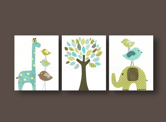 Aqua blue green and brown nursery -  Boys playroom art - Kids art -  elephant giraffe bird Tree - Set of three prints
