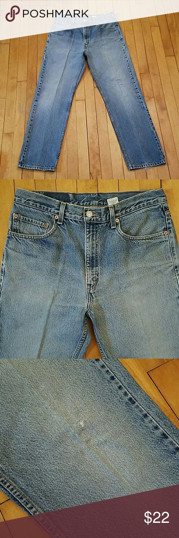 """Vintage Levi's 505 Jeans Vintage Levi's 505 Jeans.  Levi's? will keep your look stylishly classic with the original 505? jeans. The medium high rise and zip fly is casual and comfortable. They have a slim leg that makes them modern without being skinny cut. Perfectly worn vintage Levi's. Wear to knee and hems. Size 34 x 29.  505? Regular fit Sits below waist. Classic seat and thigh. Straight leg. 16 1/2"""" Leg opening. Zip fly. Would make amazing shorts!   Urban Outfitters Urban Renewal LF…"""
