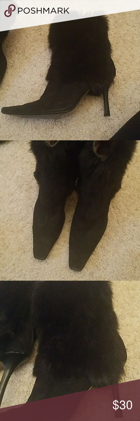Nine West black fur and suede boots Nine West black suede boots with fur trim. Mix match-right boot is size 10 and left boot is size 9 1/2. In great condition Nine West Shoes Heeled Boots