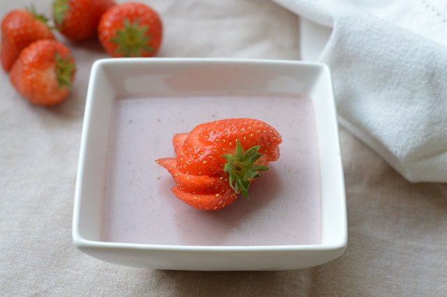 Aardbeien pudding