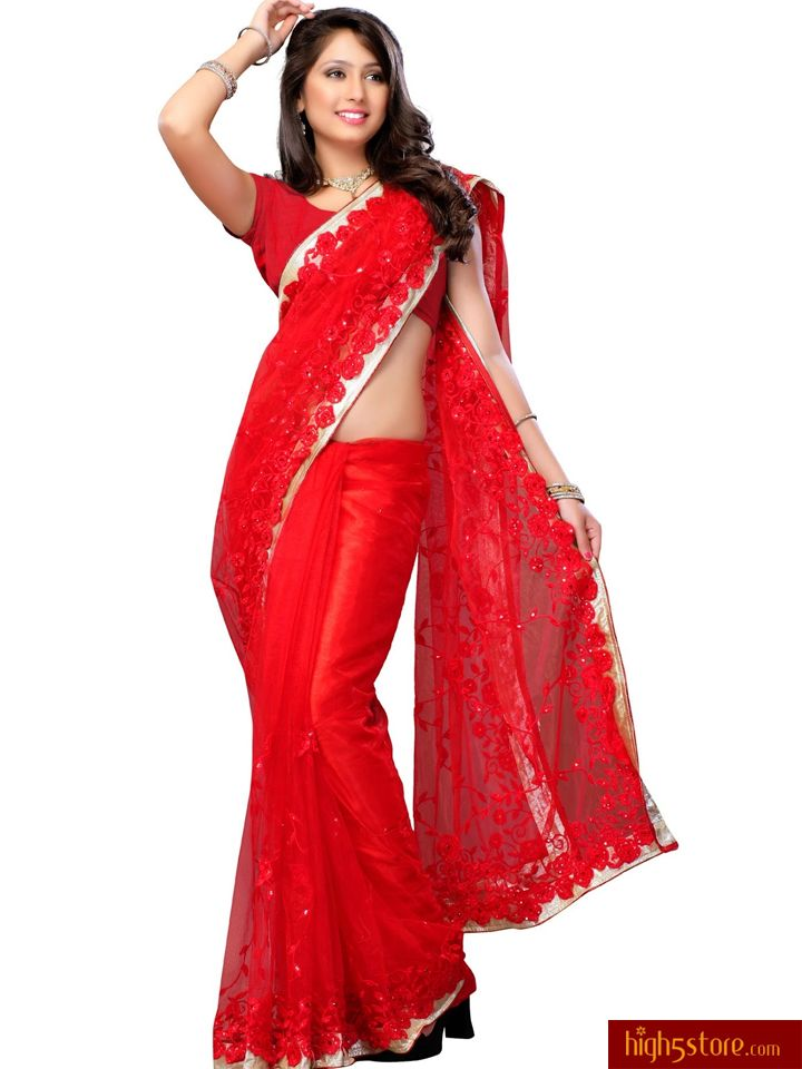 http://www.high5store.com/designer-sarees/308003-marvelous-red-net-saree.html