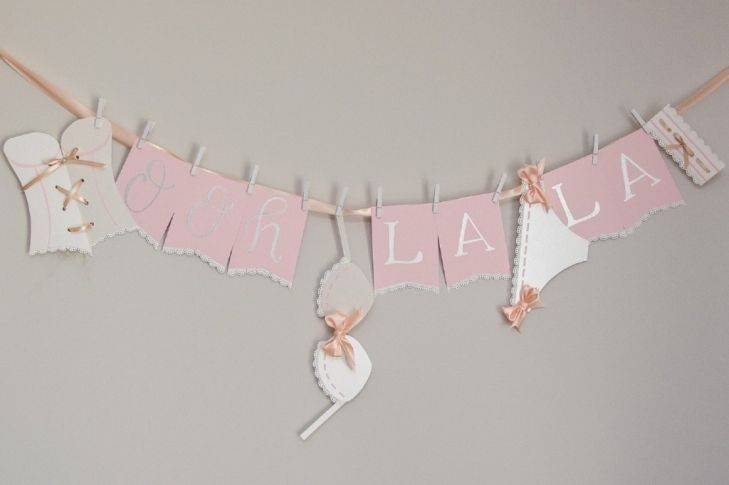 Ooh La La Lingerie Shower Banner- free template by Ribbons & Bluebirds