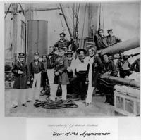 Photograph of the crew of the telegraph cable laying ship HMS 'Agamemnon'. From a series of sketches made by E W Cooke on the 1858 Atlantic Telegraph expedition. IET Archives ref. SC MSS 023/32.