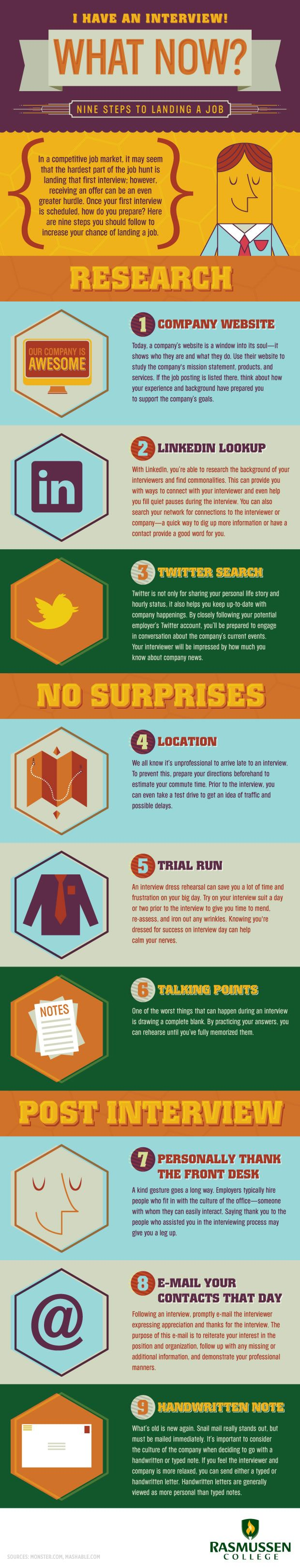 best images about job interview infographics 9 steps to landing a job interview