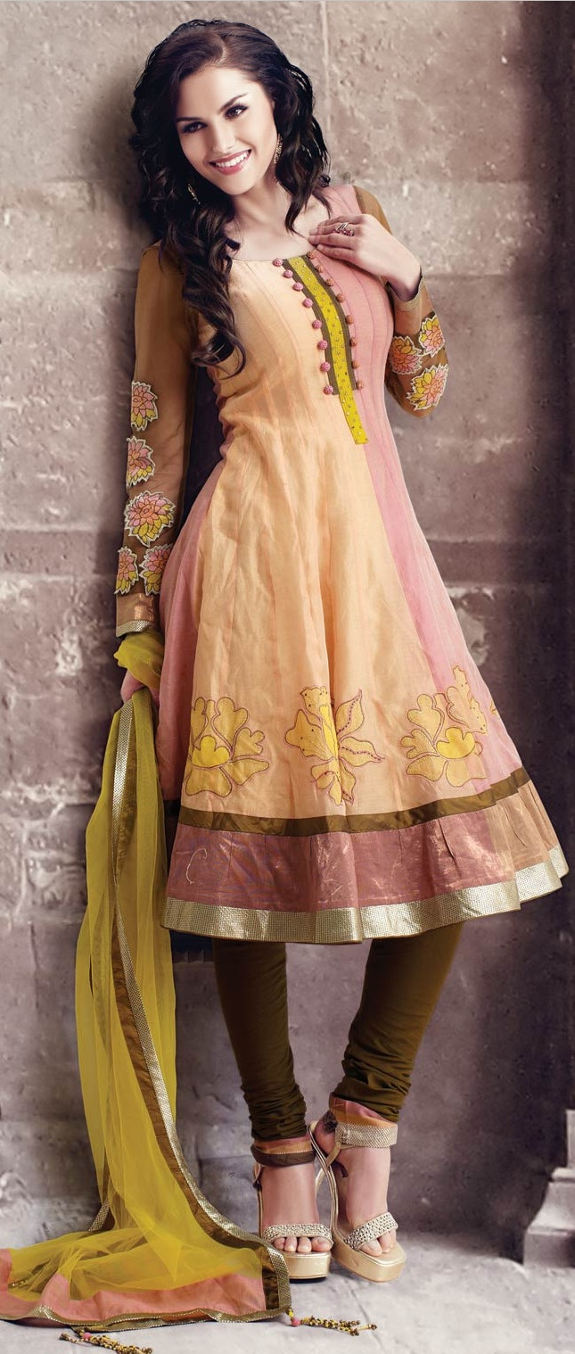 Pastel #Orange and #Pink Cotton Readymade #Churidar Kameez @ $141.18