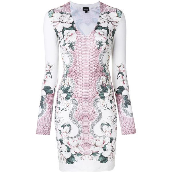 Just Cavalli floral and snakeskin print bodycon dress (€370) ❤ liked on Polyvore featuring dresses, white, snake print dresses, body con dress, white floral dress, flower printed dress and white dresses
