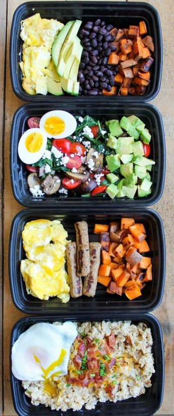 Make-Ahead Breakfast Meal Prep Bowls: 4 Ways - healthy breakfast recipes you can make ahead of time! healthy breakfat recipes | sweet potato recipes | oatmeal recipes | savory oatmeal recipe | healthy recipes | clean eating recipes | whole 30 recipes | paleo recipes | vegetarian recipes , Follow PowerRecipes For More.