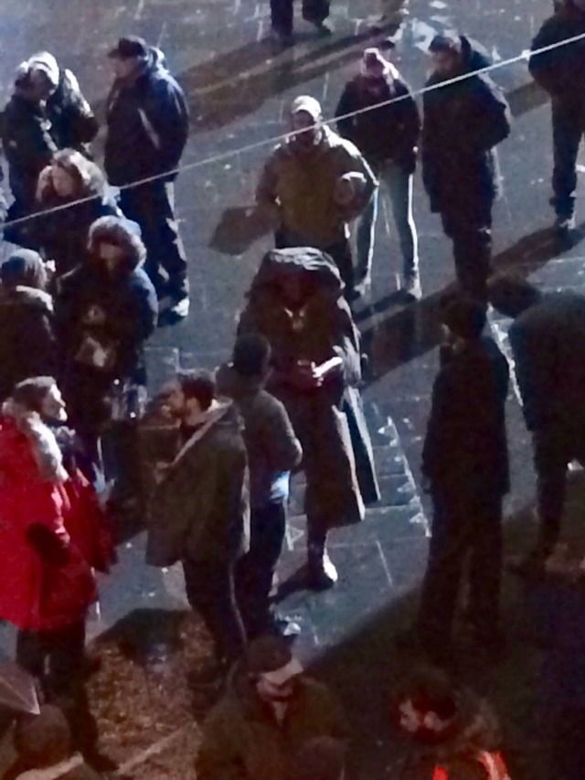 Vision ( Paul Bettany) from the set of Infinity War – which is currently filming in Edinburgh, Scotland –
