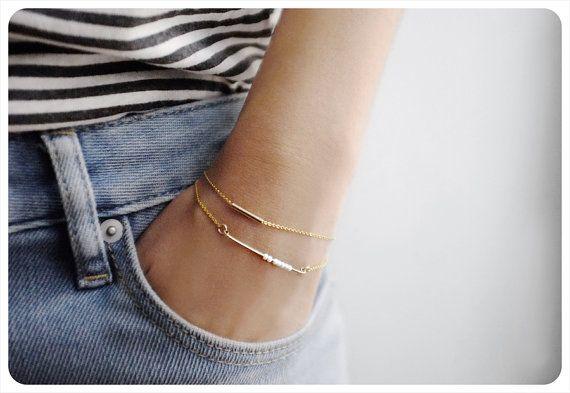 The most delicate little layering bracelets. #etsyjewelry