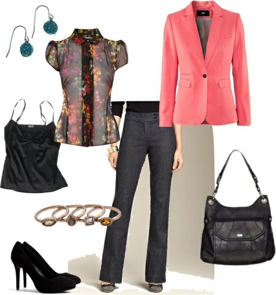 Love this business casual look! Grace Adele Laney Leather Bag | Jewel Drop Earrings | Celtic Stacking Rings