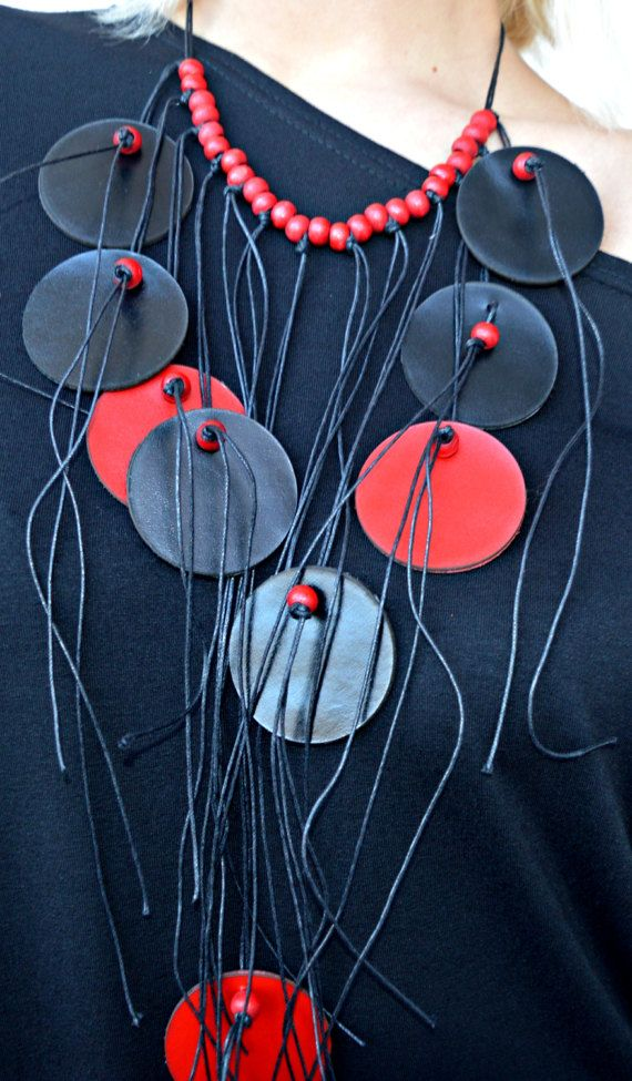 Black and Red Necklace / Extravagant Leather Necklace with