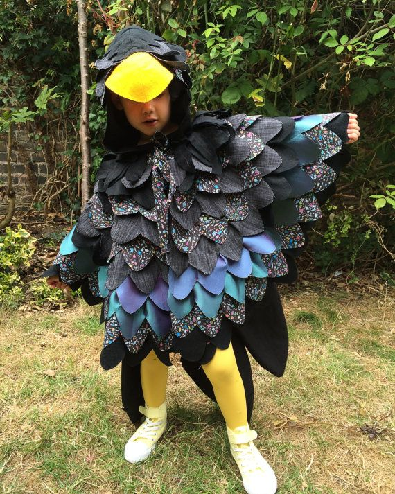 Kids Comedy Crow Costume, Raven Cape, Bird Wings, Maleficent Costume for Halloween, Carnival, - made to order