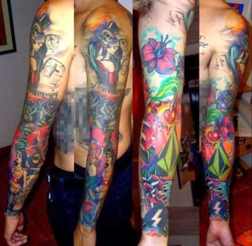 22 Best Colorful Sleeve Tattoos Images On Pinterest