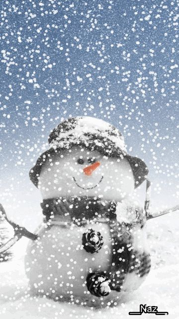 ❄️ WINTER SNOWMAN GIF ❄️