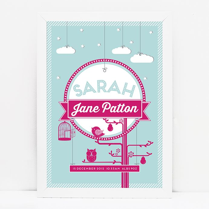 Personalised baby stars and clouds print // MINT/PINK © Paper Chain Creative Studio  www.facebook.com/paperchain