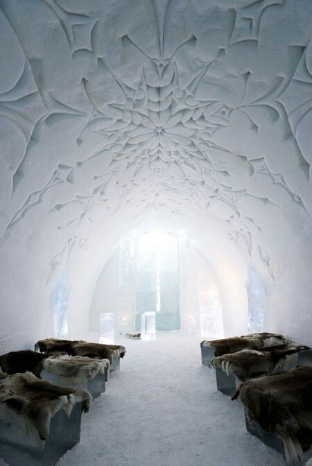 Ice Hotel, Iceland The beauty of water as shelter - grown ups ice castle.