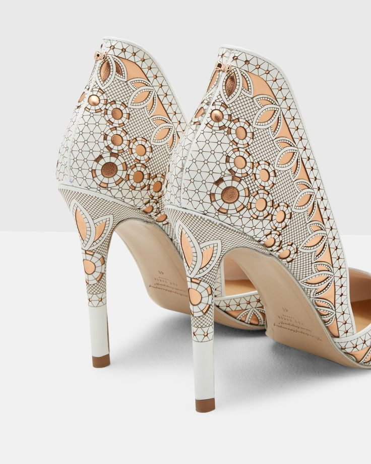 Lazer cut leather heeled courts - White | Shoes | Ted Baker