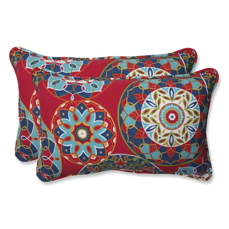 Inspired by vibrant Southwestern patterns and robust color palates, this bold outdoor set of two rectangular throw pillows will ignite the fire in your home style. We love the array of colors that dance comfortably on this well-crafted accent.